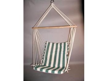 Hængestol, grøn/hvide striber