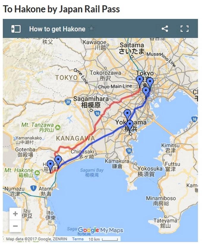 Kort over Tokyo-Hakone