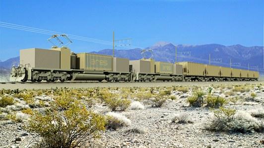 Rock-train on hill