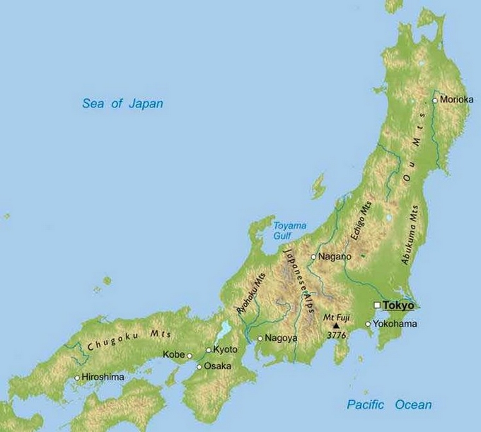 jap map with Japansese alps