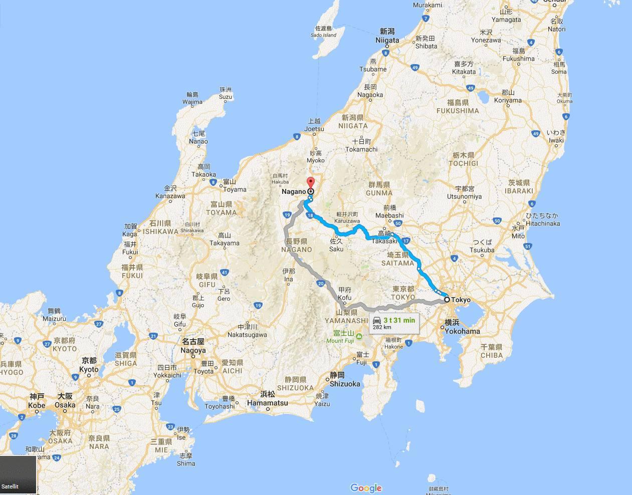 map tokyo, nagano, osaka,